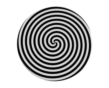 Hypnotic spiraal op de ronde plaat 3d render