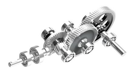 3D render de concepto de mecanismo de un reductor de velocidad Foto de archivo
