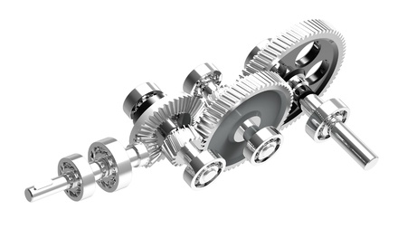 Mechanism concept 3d render of a speed reducer photo