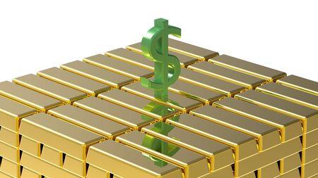 Symbol of dollar on gold bars money concept photo