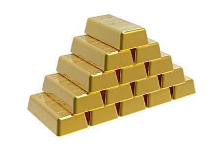 Pyramid made of gold bullions 3d render photo
