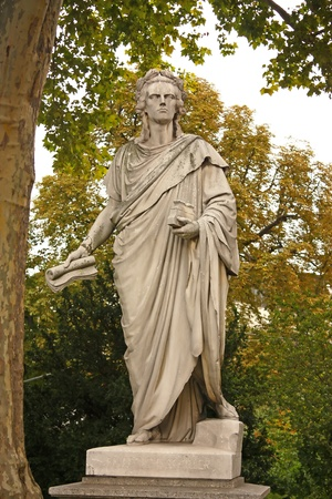historian: Statue of Johann Christoph Friedrich von Schiller, German poet, philosopher, historian and playwright in Stuttgart