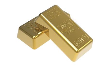 白の 3 d のレンダリングに分離されたゴールド地金 写真素材 - 9776794