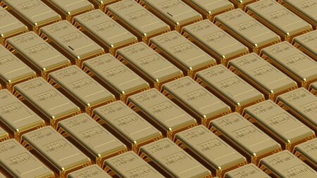 Array of gold bullion 3d render money concept photo