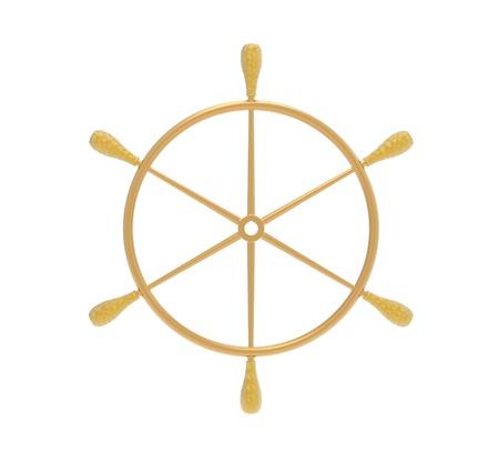 Golden ship steering wheel isolated on white 3d render photo