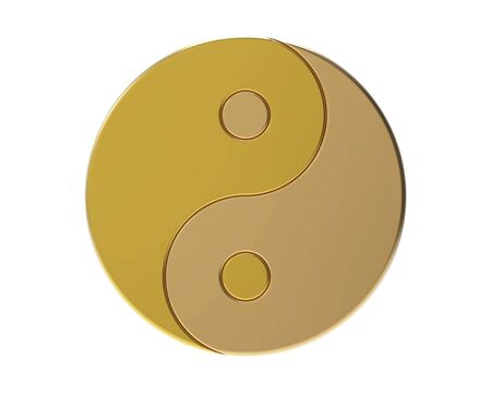 Golden Yin-yang symbol isolated on white, 3d render photo