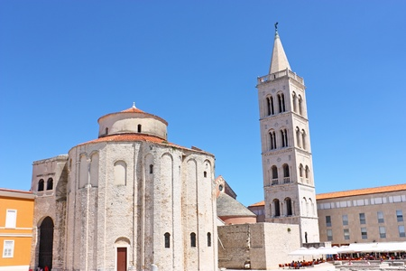 Church of St. Donat and tower of cathedral of St. Anastasia in Zadar, Croatia from 9th century photo