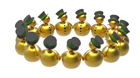 Golden snowman in a circle isolated on white 3d render photo