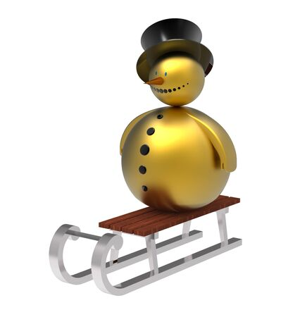 Golden snowman on sledge Christmas decoration isolated on white 3d render photo