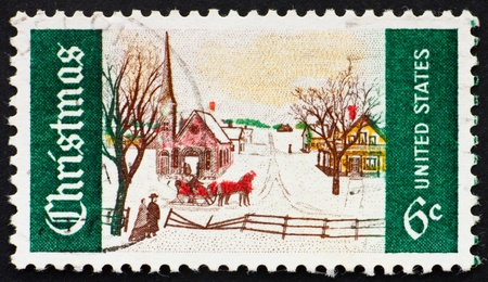 UNITED STATES OF AMERICA - CIRCA 1969: a stamp printed in the United States of America shows  Winter Sunday in Norway, Maine Issue, circa 1969 photo
