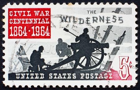 civil war: UNITED STATES OF AMERICA - CIRCA 1964: a stamp printed in the United States of America shows Battle of the Wilderness 1864, circa 1964