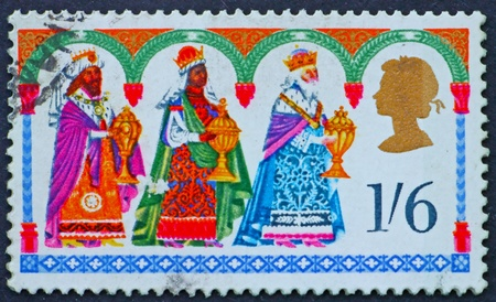 GREAT BRITAIN � CIRCA 1969: a stamp printed in the Great Britain shows Christmas motif the Three Kings, circa 1969