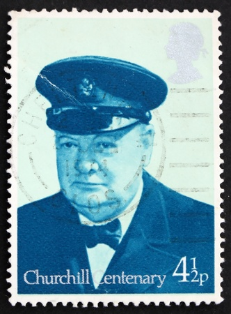 GREAT BRITAIN � CIRCA 1974: a stamp printed in the Great Britain shows Sir Winston Spencer Churchill British statesman, circa 1974 photo
