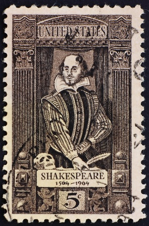 UNITED STATES OF AMERICA - CIRCA 1964: a stamp printed in the United States of America shows William Shakespeare 400th anniversary of the birth of Shakespeare, circa 1964 photo