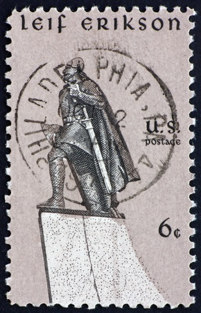 erikson: UNITED STATES OF AMERICA - CIRCA 1968: a stamp printed in the United States of America shows statue of Leif Erikson Norse explorer, by Stirling Calder, circa 1968