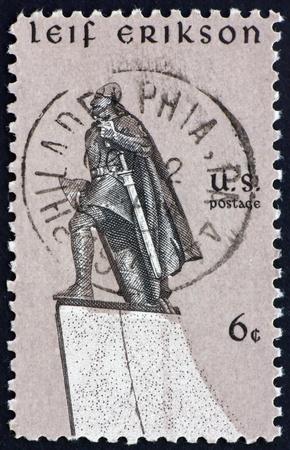 UNITED STATES OF AMERICA - CIRCA 1968: a stamp printed in the United States of America shows statue of Leif Erikson Norse explorer, by Stirling Calder, circa 1968