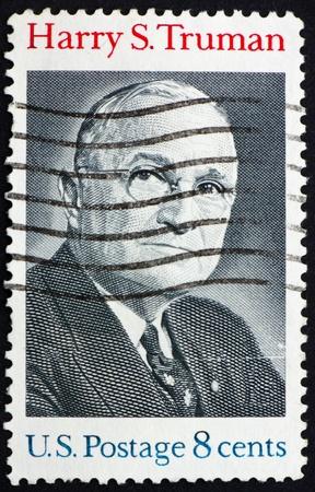 president???s: STATI UNITI D'AMERICA - CIRCA 1973: un francobollo stampato negli Stati Uniti d'America mostra Harry S. Truman, Presidente 33, circa 1973 Archivio Fotografico