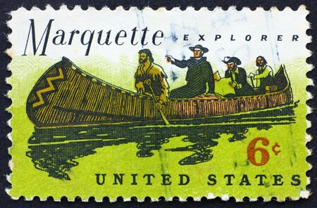 marquette: UNITED STATES OF AMERICA - CIRCA 1968: a stamp printed in the United States of America shows Father Jacques Marquette and Louis Jolliet explorers of the Mississippi, circa 1968