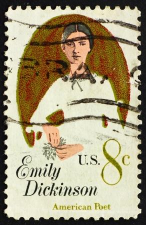 UNITED STATES OF AMERICA - CIRCA 1971: a stamp printed in the United States of America shows Emily Elizabeth Dickinson, American Poet, circa 1971 photo