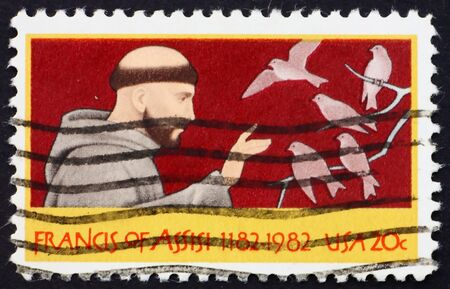 friar: UNITED STATES OF AMERICA - CIRCA 1982: a stamp printed in the United States of America shows St. Francis of Assisi Italian Catholic friar and preacher, circa 1982