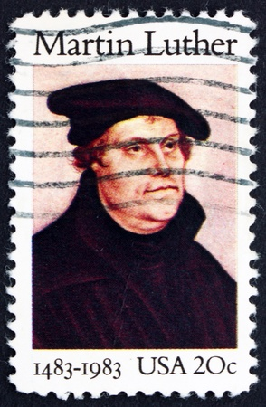 reformation: UNITED STATES OF AMERICA - CIRCA 1982: a stamp printed in the United States of America shows Martin Luther German Priest, who initiated the Protestant reformation, circa 1982