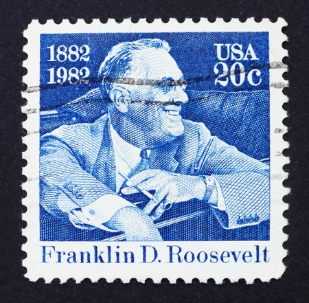 franklin: UNITED STATES OF AMERICA - CIRCA 1982: a stamp printed in the United States of America shows Franklin Delano Roosevelt American President, circa 1982