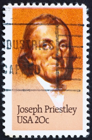 theologian: UNITED STATES OF AMERICA - CIRCA 1983: a stamp printed in the United States of America shows Joseph Priestley English theologian and scientist, circa 1983