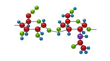 Molecule van Hyaluron 3d render op wit wordt geïsoleerd