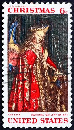 angel gabriel: UNITED STATES OF AMERICA - CIRCA 1968: a stamp printed in the United States of America shows picture of Angel Gabriel, from Eyck�s Annunciation, circa 1968