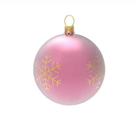 Rose christmass ball isolated on white photo