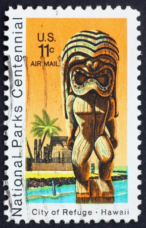 UNITED STATES OF AMERICA - CIRCA 1972: a stamp printed in the United States of America shows Kii Statue and Temple, City of Refuge at Honaunau, Hawaii, circa 1972