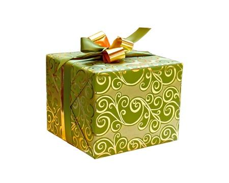 Blauwe gift doos geà ¯ soleerd op witte achtergrond