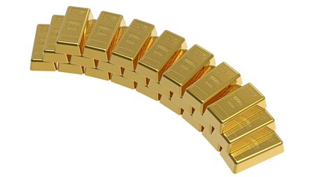 Gold bullion isolated on white 3d render photo