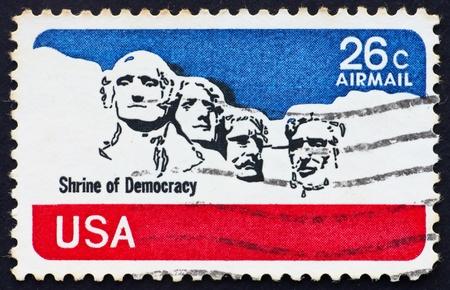 mt rushmore: UNITED STATES OF AMERICA - CIRCA 1974: a stamp printed in the United States of America shows Mt. Rushmore National Memorial, circa 1974