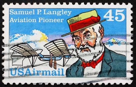 UNITED STATES OF AMERICA - CIRCA 1988: a stamp printed in the United States of America shows Samuel Pierpoint Langley, Astronomer, Aviation Pioneer and Inventor, circa 1988 photo