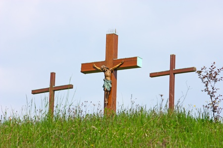 Jesus Christ crucified symbol of Gods eternal love on the top of the hill