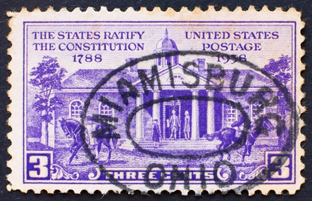 ratification: UNITED STATES OF AMERICA - CIRCA 1938: a stamp printed in the United States of America shows Old Court House, Williamsburg, 150th anniversary of the ratification of the US Constitution, circa 1938 Stock Photo
