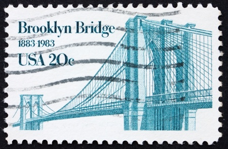 perforated stamp: UNITED STATES OF AMERICA - CIRCA 1983: a stamp printed in the United States of America shows Brooklyn Bridge, centenary of Brooklyn Bridge, circa 1983