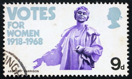 GREAT BRITAIN – CIRCA 1968: a stamp printed in the Great Britain shows Emmeline Pankhurst statue, 50th anniversary of women's suffrage, circa 1968