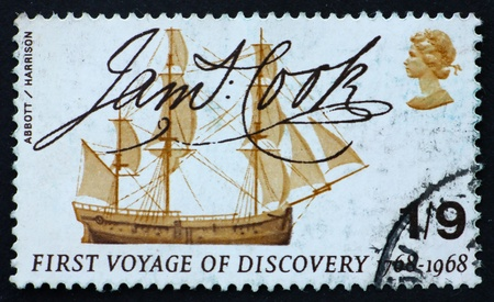 perforated stamp: GREAT BRITAIN � CIRCA 1968: a stamp printed in the Great Britain shows Captain Cook�s ship Endeavour and signature, bicentennial of Captain Cook�s first discovery voyage, circa 1968