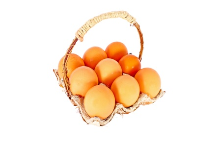 Chicken eggs in a basket made of natural materials, isolated photo