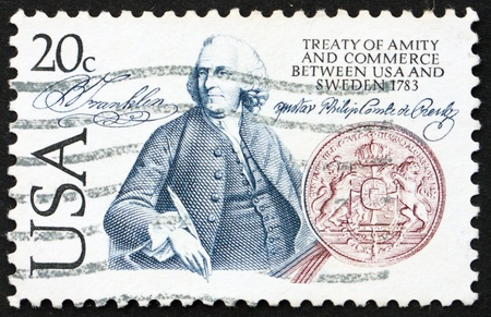 amity: UNITED STATES OF AMERICA - CIRCA 1983: a stamp printed in the United States of America shows Benjamin Franklin and seal, Bicentenary of the Treaty of Amity and Commerce between Sweden and USA, circa 1983