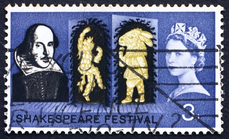 GREAT BRITAIN � CIRCA 1964: a stamp printed in the Great Britain shows Puck and Bottom from A Midsummer Night�s Dream and Portrait of Shakespeare, circa 1964 photo