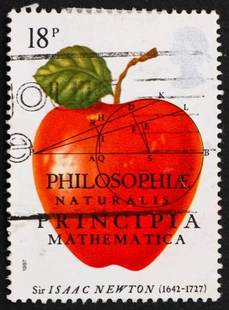 GREAT BRITAIN � CIRCA 1982: a stamp printed in the Great Britain shows Philosophiae Naturalis Principia Mathematica, Sir Isaac Newton, circa 1982 photo