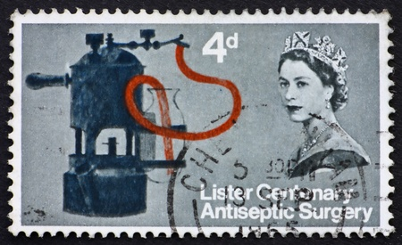antiseptic: GREAT BRITAIN � CIRCA 1965: a stamp printed in the Great Britain shows Lister�s Carbolic Spray, circa 1965 Stock Photo