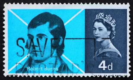 robert: GREAT BRITAIN – CIRCA 1965: a stamp printed in the Great Britain shows Robert Burns and Saltier Cross of St. Andrew, circa 1965 Stock Photo