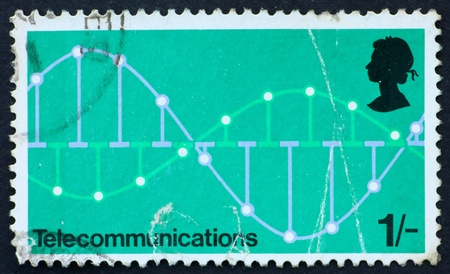 modulation: GREAT BRITAIN � CIRCA 1969: a stamp printed in the Great Britain shows pulse code modulation graph, telecommunications, circa 1969 Stock Photo
