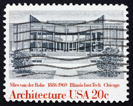 institute of technology: UNITED STATES OF AMERICA - CIRCA 1982: a stamp printed in the United States of America shows Illinois Institute of Technology by Ludwig Mies van der Rohe, circa 1982