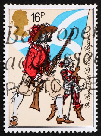 regiment: GREAT BRITAIN – CIRCA 1983: a stamp printed in the Great Britain shows The Royal Scots, Royal Regiment, circa 1983 Stock Photo