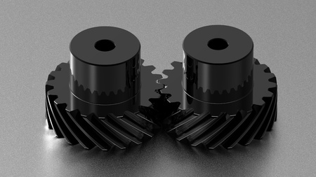 Two black crome gears on titanium background, mechanism concept 3d render of a gear photo
